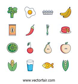 icon set of healthy food and water glass, line fill style
