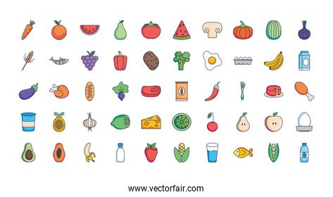 healthy food icon set, line fill style