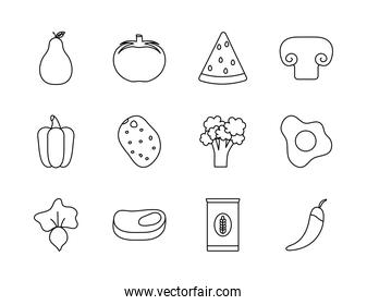 vegetables and healthy food icon set, line style
