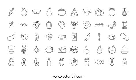 healthy food icon set, line style