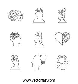 icon set of heart and mental health, line style