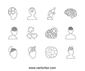 brains and mental health icon set, line style