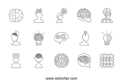 icon set of mental health and brains, line style