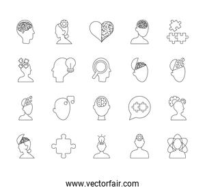jigsaw puzzles and mental health icon set, line style