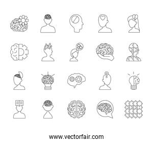 icon set of mental health and woman head, line style
