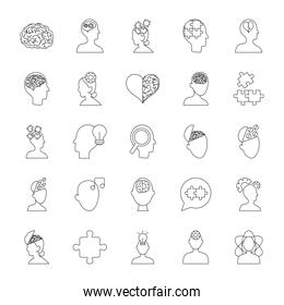 heart and mental health icon set, line style