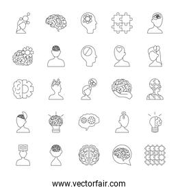 icon set of speech bubbles and mental health, line style