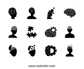 brains and mental health icon set, silhouette style