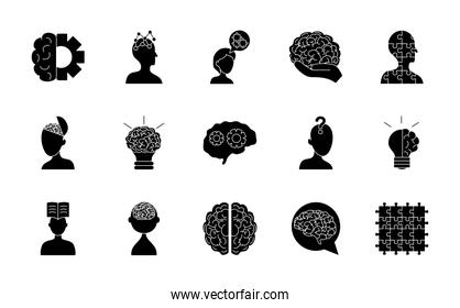 icon set of mental health and brains, silhouette style