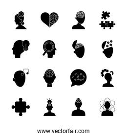 heads and mental health icon set, silhouette style