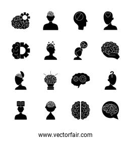 icon set of bulb light and mental health, silhouette style