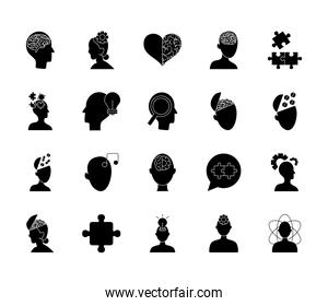 jigsaw puzzles and mental health icon set, silhouette style