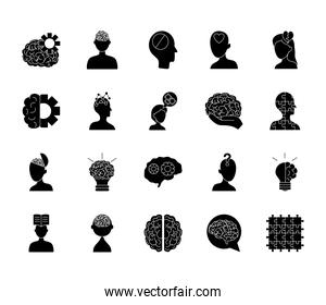 icon set of mental health and woman head, silhouette style