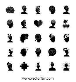 heart and mental health icon set, silhouette style