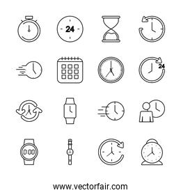 icon set of time and calendar, line style