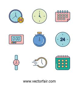calendar and time icon set, line fill style