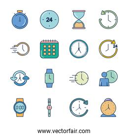 icon set of time and calendar, line fill style
