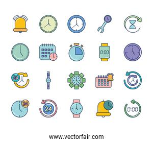 bell and time icon set, line fill style