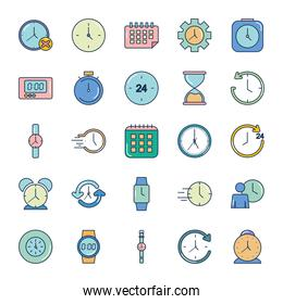 icon set of time and hourglass, line fill style