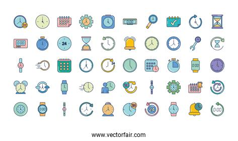 icon set of time concept, line fill style