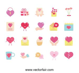 envelopes and love icon set, flat style