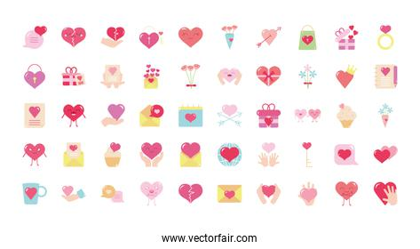 hearts and love icon set, flat style