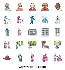 Grandmothers and grandfathers line and fill style icon set vector design