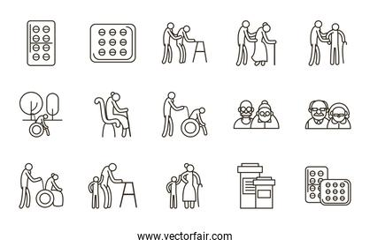 Grandmothers and grandfathers line style icon set vector design