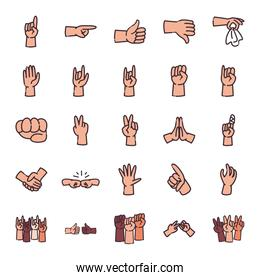 gestures with hands line and fill style icon set vector design