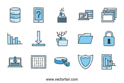 Big data line and fill style icon set vector design
