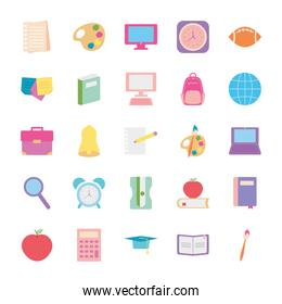 bell and back to school icon set, flat style