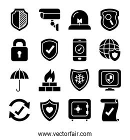 security camera and security shield icon set, silhouette style