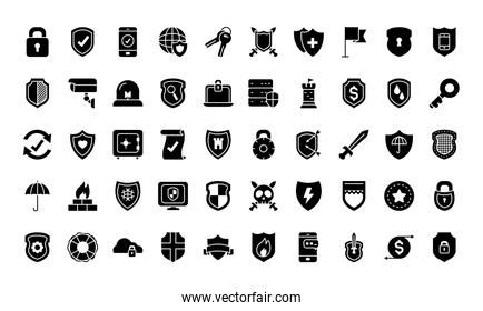 security and shields icon set, silhouette style