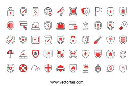 security and shields icon set, half line half color style