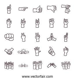 gestures with hands line style icon set vector design