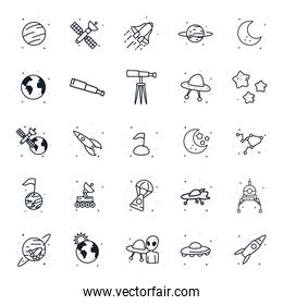 Space line style icon set vector design