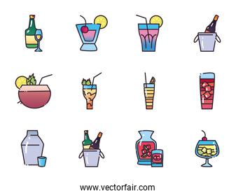 Cocktails fill and gradient style icon set vector design