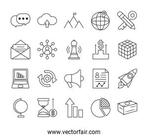 global sphere and strategy icon set, line style
