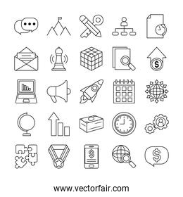 icon set of clock and strategy, line style