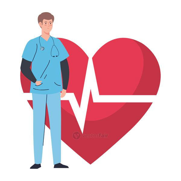 professional doctor with heart pulse on background