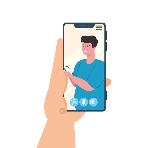 hand holding smartphone video call on the screen with man, social media concept