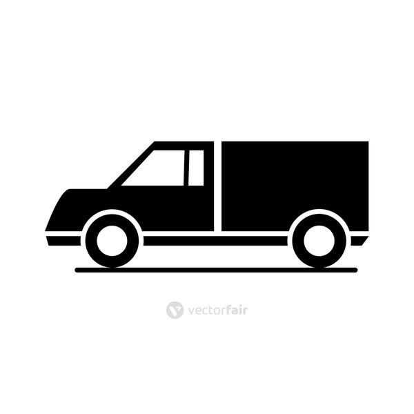 car lorry model transport vehicle silhouette style icon design