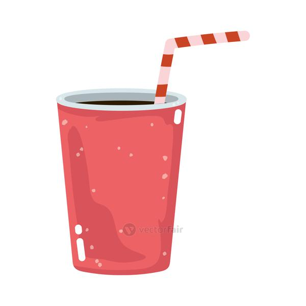 fast food soda cup with straw isolated icon white background