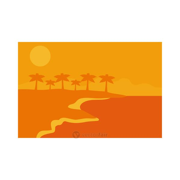 Summer orange banner with palm trees at beach vector design
