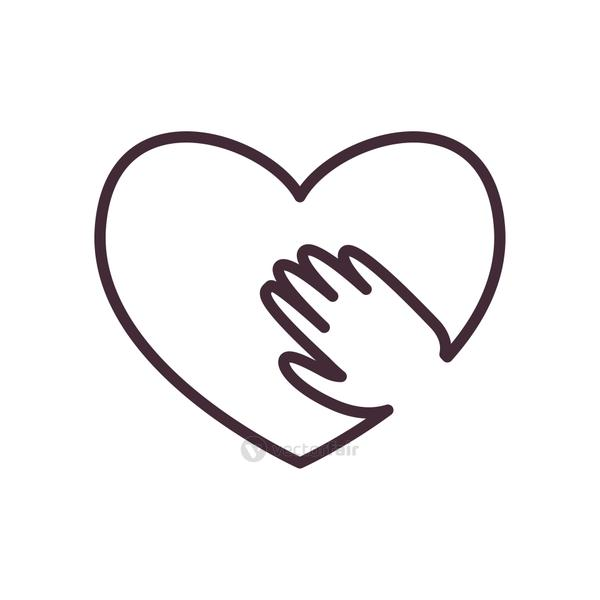 Heart with hand line style icon vector design