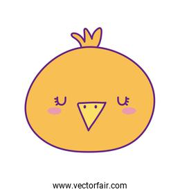 Cute chicken face cartoon line and fill style icon vector design