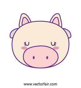 Cute cow face cartoon line and fill style icon vector design