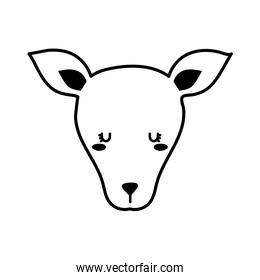 Cute kangaroo face cartoon line style icon vector design