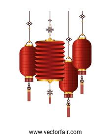 chinese red with gold lanterns vector design