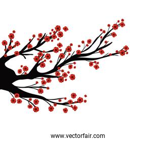 branches tree with red flowers vector design